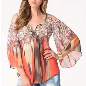 #Bebe printed cold shoulder tunic beaded XS